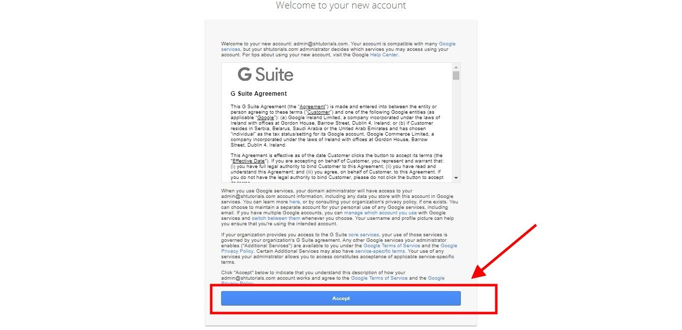G-Suite-Accept Terms and Conditions