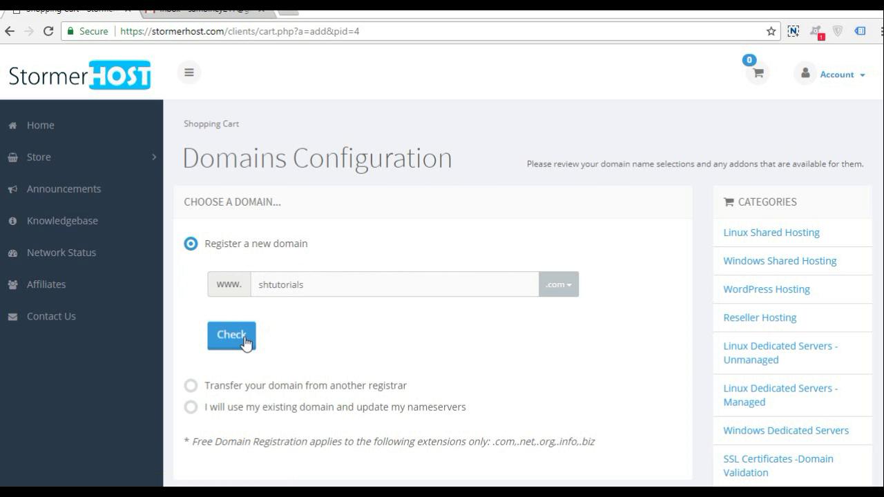 3.enter domain name - check availability